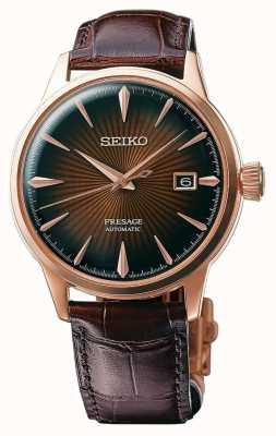 Seiko Boîtier or rose automatique Presage cocktail en cuir marron SRPB46J1