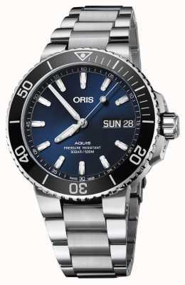 Oris Mens aquis grand jour date cadran bleu bracelet en métal 01 752 7733 4135-07 8 24 05PEB