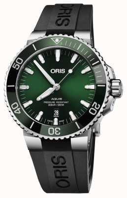 Oris Mens aquis date cadran vert bracelet en caoutchouc noir 01 733 7730 4157-07 4 24 64EB