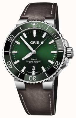 Oris Mens aquis date cadran vert noir bracelet marron 01 733 7730 4157-07 5 24 10EB