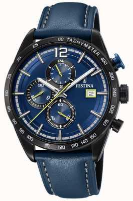 Festina Chronographe sport homme bleu bracelet en cuir bleu cadran F20344/2