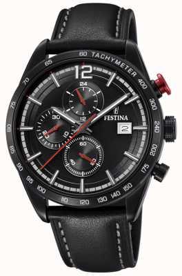 Festina Chronographe sport noir bracelet cuir noir cadran noir F20344/3