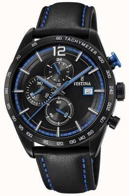 Festina Chronographe sport noir bracelet cuir noir cadran noir F20344/4