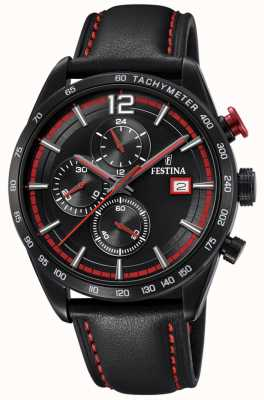 Festina Chronographe sport noir bracelet cuir noir cadran noir F20344/5