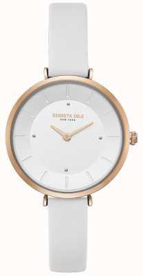 Kenneth Cole Womens diamond set montre en or rose boîtier en cuir blanc KC50306004