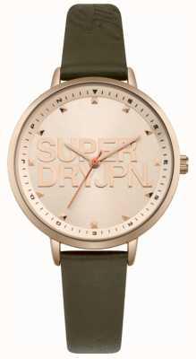 Superdry Femmes ascot luxe bracelet en cuir vert or rose cadran SYL157NRG