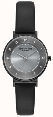 Kenneth Cole Montre classique à cadran gris pour femme en cuir noir KC50075001