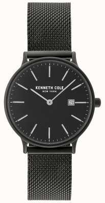 Kenneth Cole Boîtier et cadran noir pour femme avec affichage de la date et maille noire KC15057004