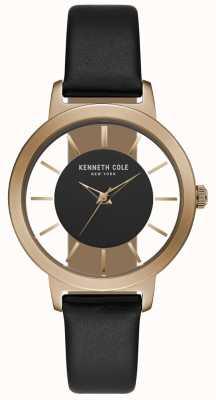 Kenneth Cole Womens boîtier en or rose avec bracelet en cuir noir KC15172004