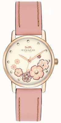 Coach Womens grand bracelet en cuir rose crème floral cadran 14503060