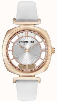 Kenneth Cole Womens roase or boîtier sur un bracelet en cuir blanc KC15108003