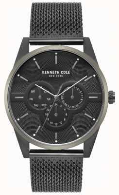 Kenneth Cole Montre à bracelet en maille noire multi-cadran pour homme KC15205005