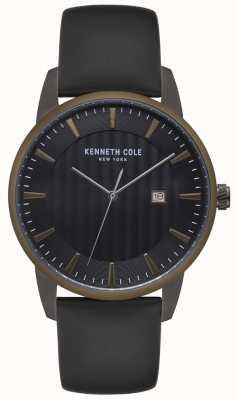 Kenneth Cole Montre en acier inoxydable pour homme en acier inoxydable avec lunette bleue KC15204005