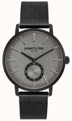 Kenneth Cole Montre subdial gris noir pour homme avec bracelet en maille noire KC50055001