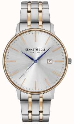 Kenneth Cole Montre en acier inoxydable argent et or rose KC15095003
