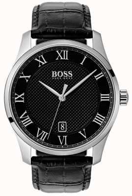 Boss Montre homme en cuir à cadran noir maître noir 1513585