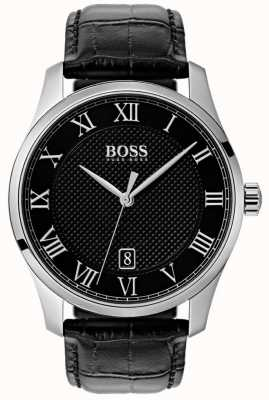 BOSS Master | cadran noir | bracelet en cuir noir 1513585