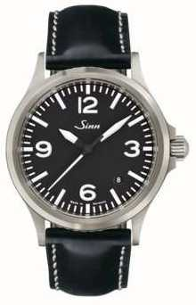 Sinn 556 un bracelet en cuir de verre saphir 556.014 BLACK LEATHER WHITE STICH