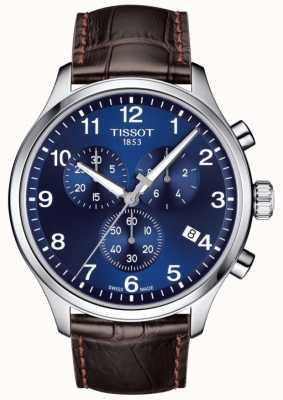 Tissot Bracelet t-sport xl chronographe pour homme, cadran bleu, bracelet en cuir marron T1166171604700