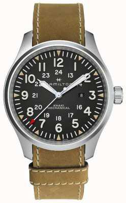 Hamilton Bracelet kaki mécanique 50mm en cuir marron H69819530