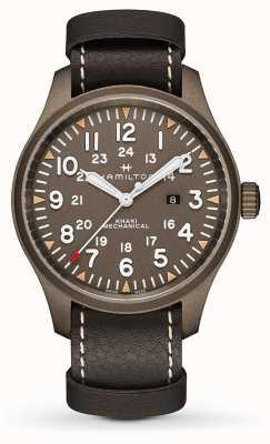 Hamilton Kaki champ mécanique 50mm bracelet en cuir noir H69829560