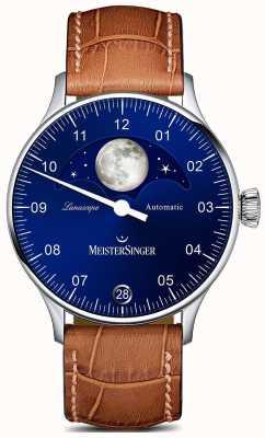 MeisterSinger Pangea lunascope bracelet brun cadran bleu LS908