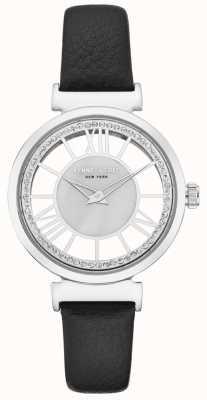 Kenneth Cole Boîtier en acier inoxydable pour dames sur un bracelet en cuir noir KC50189002