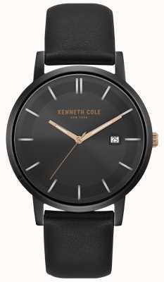 Kenneth Cole Boîtier pour homme et cadran date cadran bracelet en cuir noir KC15202004