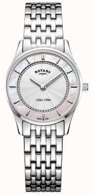 Rotary Womens ultra mince bracelet en argent ton mère de dial dial LB08300/07
