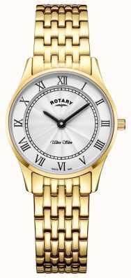 Rotary Womens ultra mince bracelet en or ton cadran blanc LB08303/01