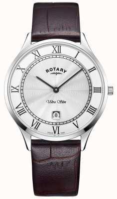 Rotary Montre homme ultra fine avec bracelet en cuir marron GS08300/01