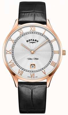 Rotary Montre à bracelet en cuir noir ultra mince pour homme GS08304/01