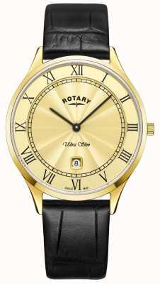 Rotary Montre à bracelet en cuir noir ultra mince pour homme GS08303/03