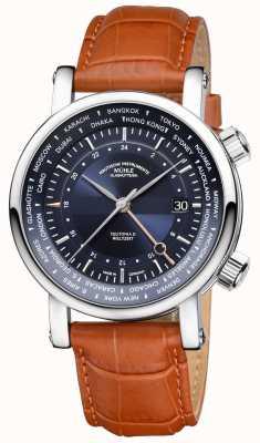Muhle Glashutte Teutonia ii ceinture de sécurité bracelet en cuir beige cadran bleu M1-33-82-LB