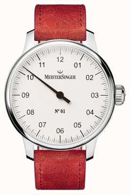 MeisterSinger N ° 1 40mm et plaie sellita suede rouge sangle DM301