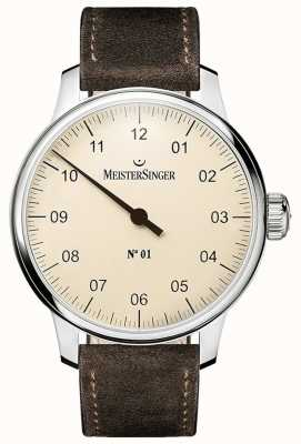 MeisterSinger No 1 40mm et plaqué sellita suede bracelet marron DM303