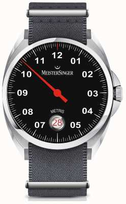 MeisterSinger Metris cadran noir automatique bracelet en nylon gris ME902