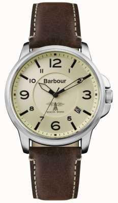 Barbour Bracelet homme en cuir marron foncé avec cadran crème BB072CPBR