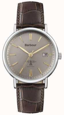 Barbour Bracelet homme en cuir marron bamburgh gris BB069GYBR