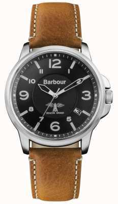 Barbour Bracelet homme en cuir marron foncé avec cadran noir BB072BKBR