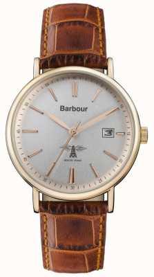 Barbour Bracelet homme en cuir marron bamburgh gris BB069SLBR