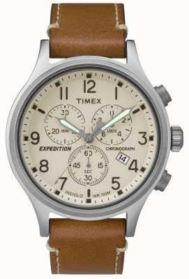 Timex Mens expedition chronographe cuir brun bracelet crème TW4B09200