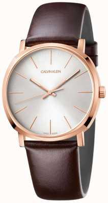 Calvin Klein Montre en or rose à bracelet en cuir marron pour homme K8Q316G6