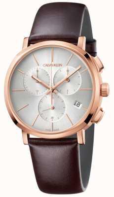 Calvin Klein Montre cadran blanc en cuir marron pour homme K8Q376G6