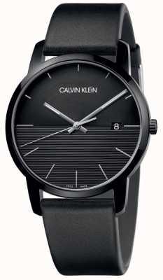 Calvin Klein Montre noire en cuir noir pour homme K2G2G4C1