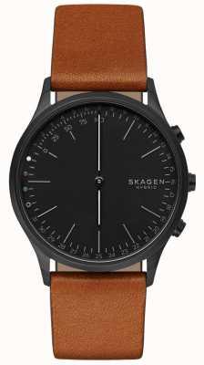 Skagen Jorn connecté montre intelligente bracelet en cuir brun cadran noir SKT1202