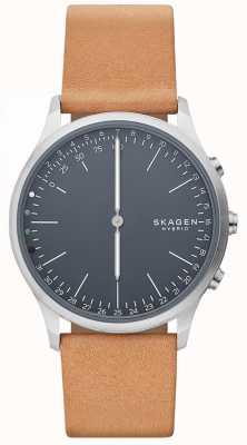 Skagen Jorn connecté montre intelligente bracelet en cuir brun cadran bleu SKT1200
