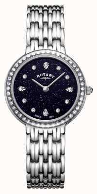 Rotary Cadran bleu étincelant kensington pour femme en acier inoxydable LB00400/67
