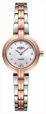 Rotary Les diamants des femmes deux tons en acier inoxydable or rose LB00412/41