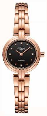 Rotary Diamants pour femmes cadran noir pvd plaqué or rose en acier inoxydable LB00414/15